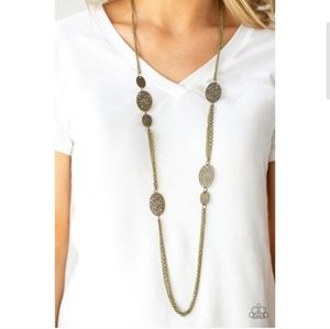 A Force of Nature Long Brass Necklace Set